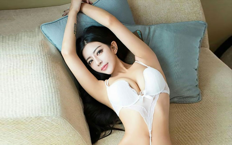beautiful thai bride on couch